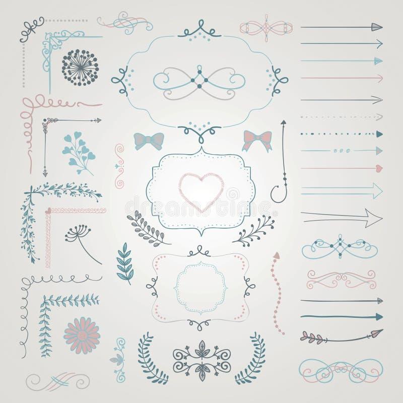 Комплект элементов дизайна вектора декоративной нарисованных рукой иллюстрация вектора