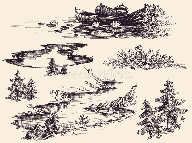 Комплект элементов дизайна природы бесплатная иллюстрация