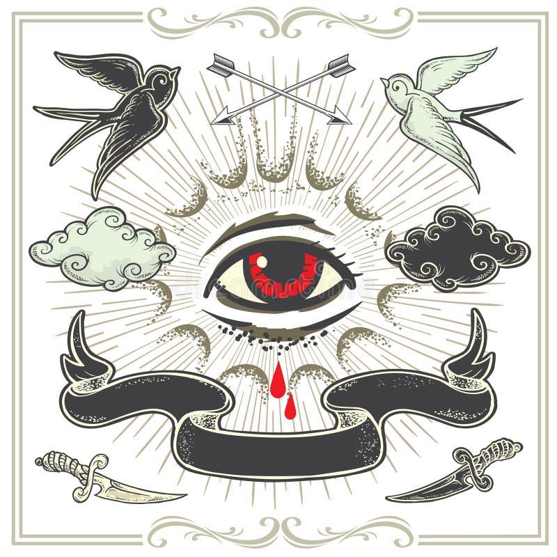 Комплект элементов дизайна Татуировка-искусства иллюстрация вектора
