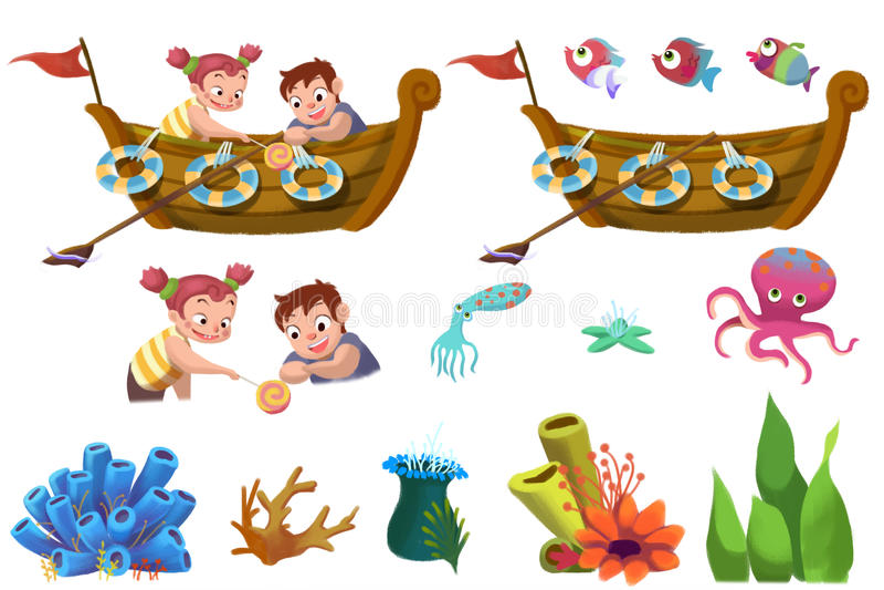 Комплект элементов иллюстрации детей: Элементы морской жизни Шлюпка, брат и сестра, рыба, коралл иллюстрация штока