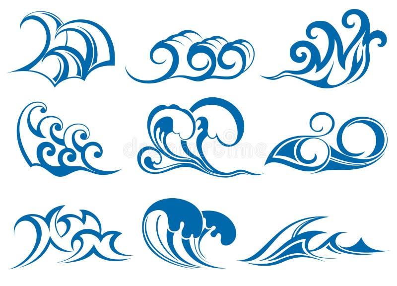 Иконы воды иллюстрация вектора
