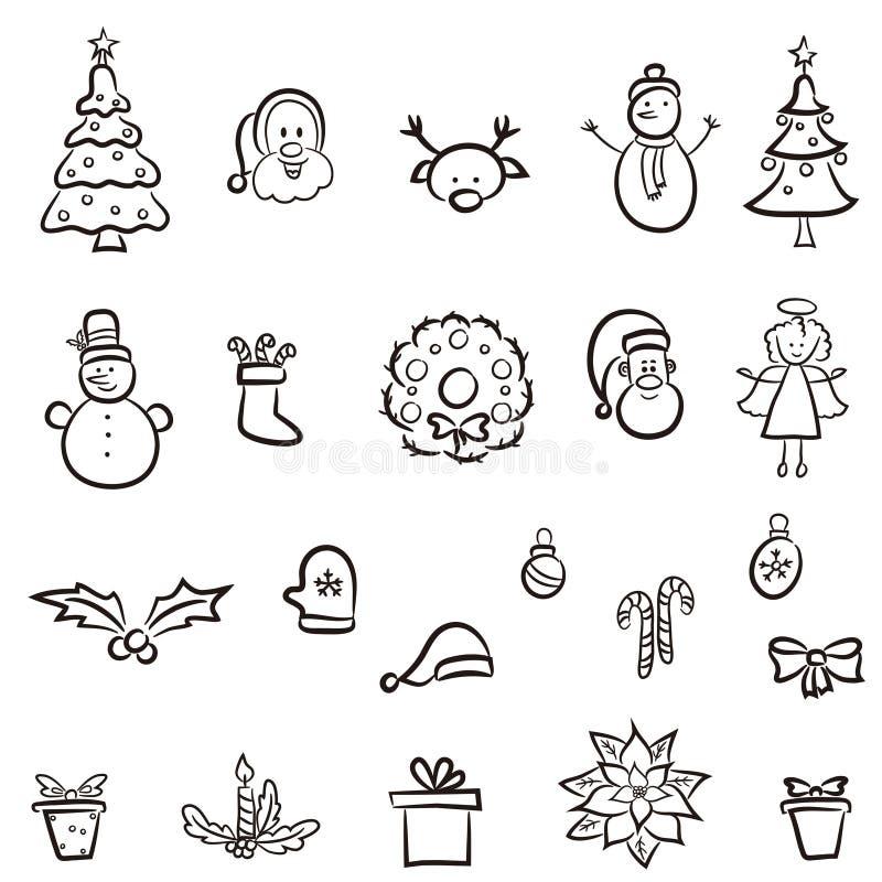 комплект элементов конструкции рождества иллюстрация штока