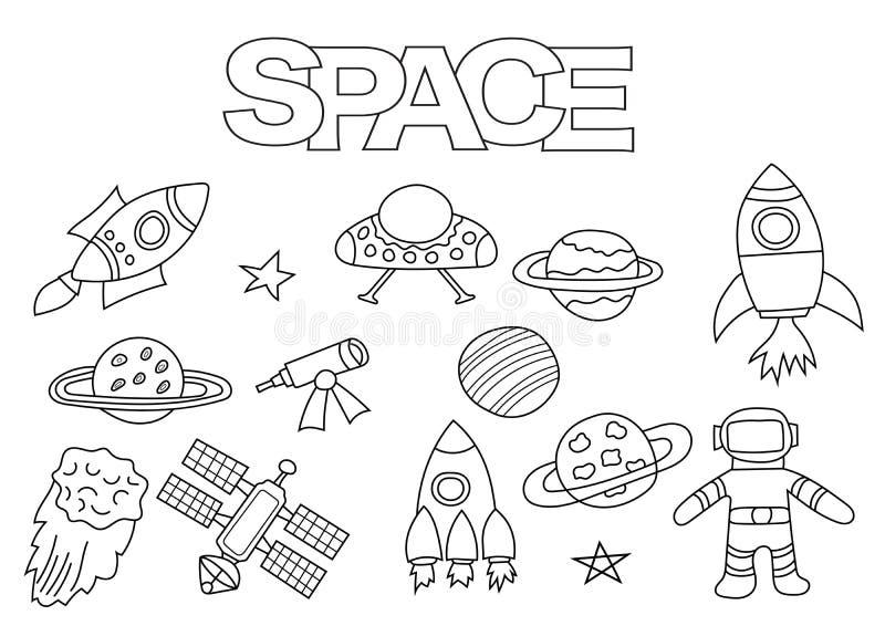 Комплект элементов космоса нарисованный рукой Шаблон книжка-раскраски Doodle плана иллюстрация вектора