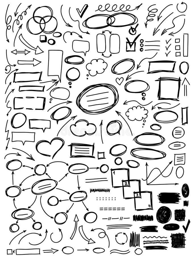 Комплект элементов нарисованных рукой для дизайна бесплатная иллюстрация