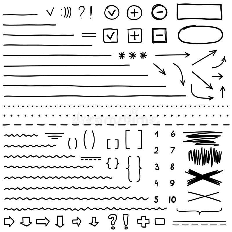 Комплект элементов нарисованных рукой для редактирует и выбирает текст почерните отметку иллюстрация вектора