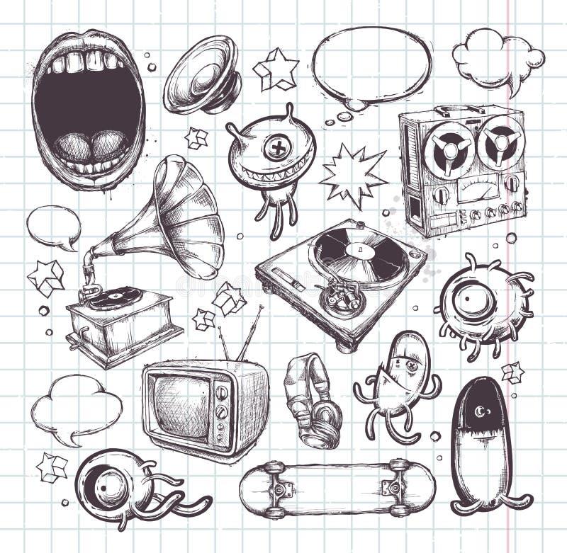 Комплект элементов нарисованных рукой иллюстрация вектора