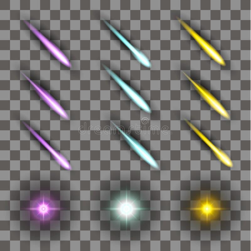 Комплект элементов неонового света с тенью иллюстрация вектора