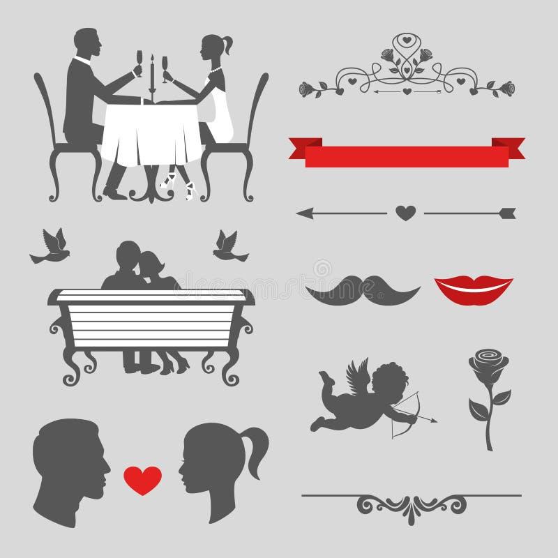 Комплект элементов дня валентинок и дизайна свадьбы винтажных иллюстрация штока
