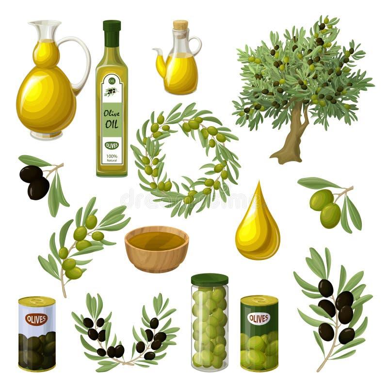 Комплект элементов оливкового масла шаржа иллюстрация штока