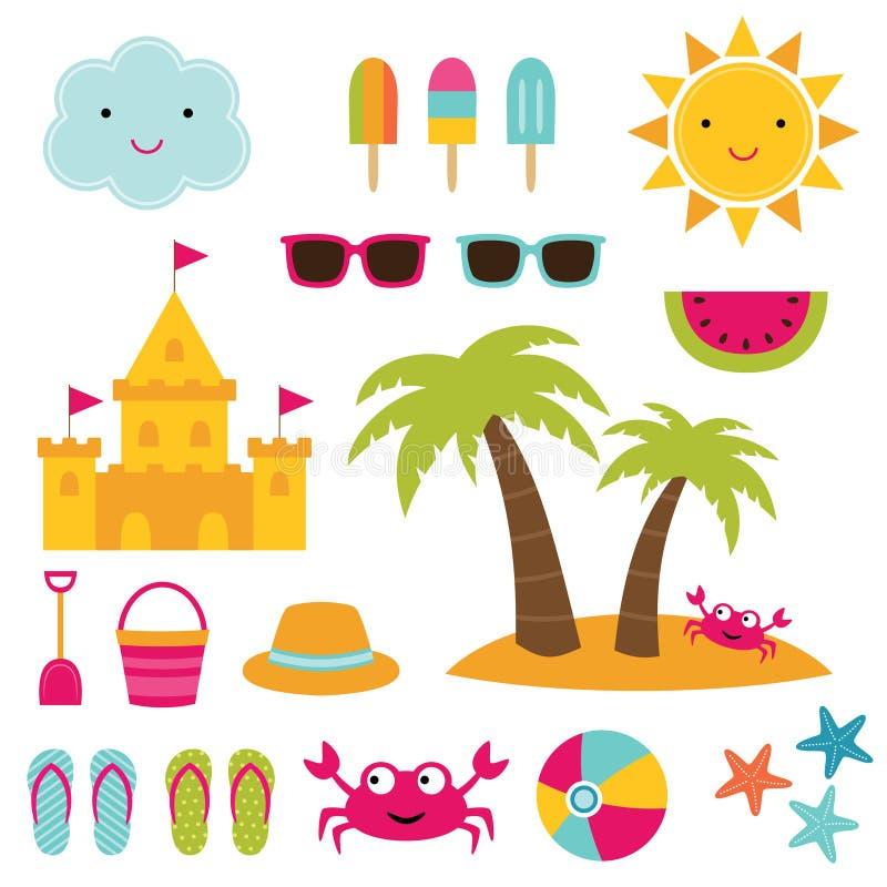 Комплект элементов пляжа лета бесплатная иллюстрация