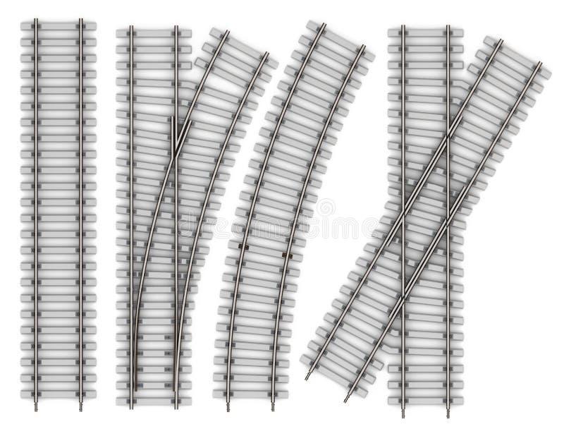 Комплект элементов рельсов изолированных на белой предпосылке иллюстрация штока