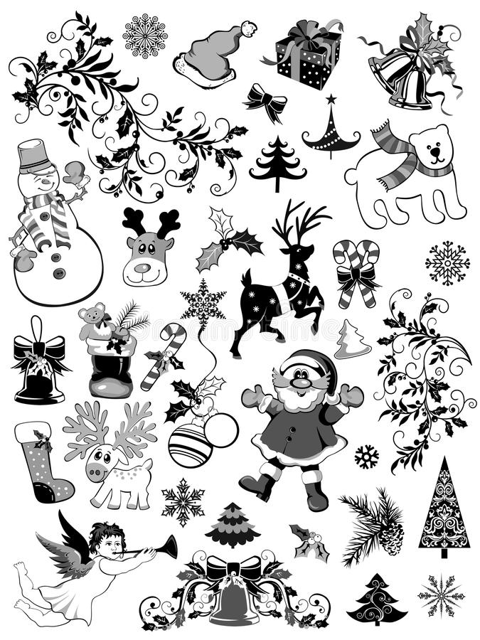 Download Комплект элементов рождества Иллюстрация вектора - иллюстрации насчитывающей носок, снеговик: 33736621