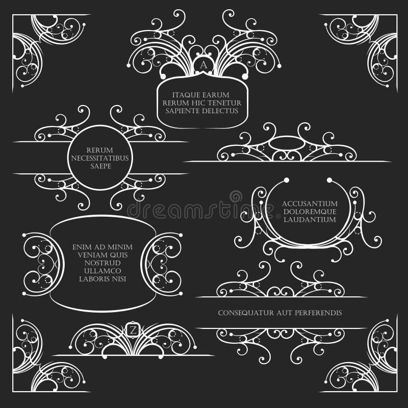 Комплект элементов свирлей декоративный иллюстрация штока