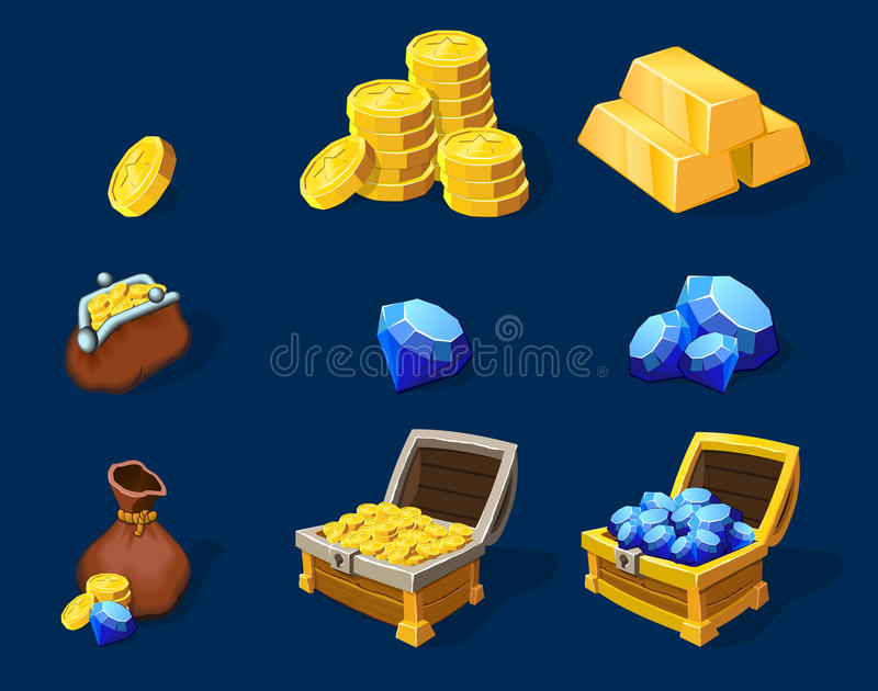 Комплект элементов сокровища шаржа иллюстрация штока