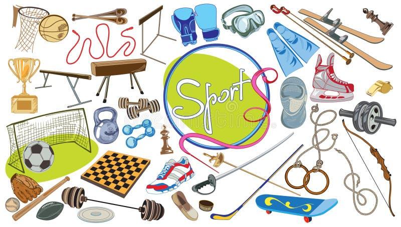 Комплект элементов спорт чертежа иллюстрация вектора