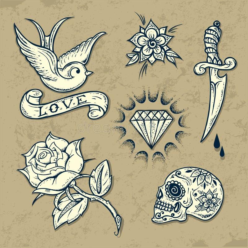 Комплект элементов татуировки старой школы бесплатная иллюстрация