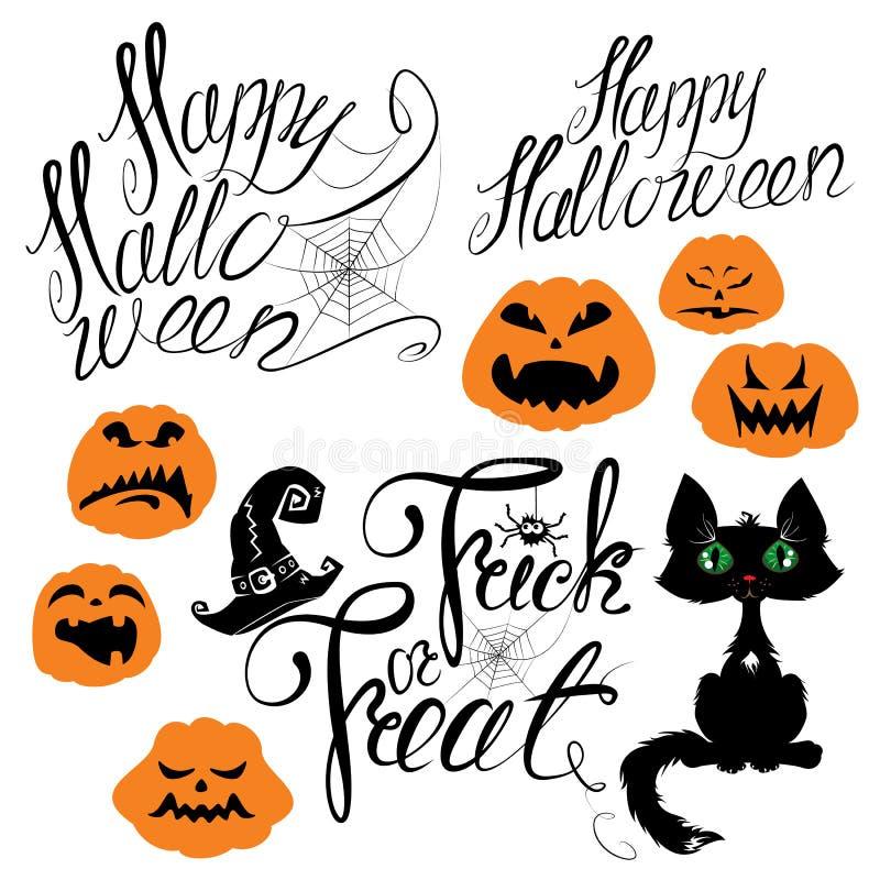 Комплект элементов хеллоуина - тыквы, кота, паука и другого terri иллюстрация штока