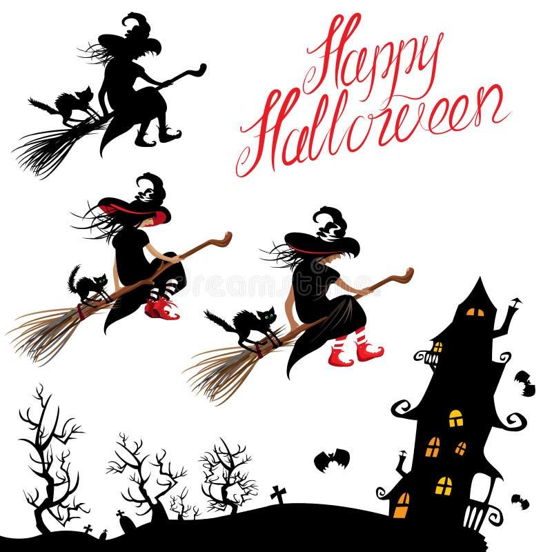 Комплект элементов хеллоуина - sillouette ведьмы и летания черного кота иллюстрация вектора