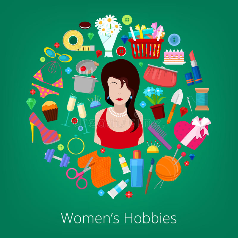 Комплект элементов хобби женщины с цветками, варить, косметиками и элементами моды иллюстрация штока