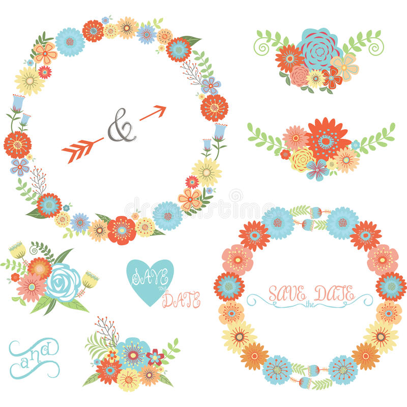 Комплект элементов цветка свадьбы бесплатная иллюстрация