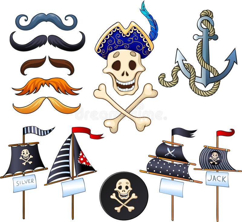Комплект элементов для партии пирата иллюстрация штока