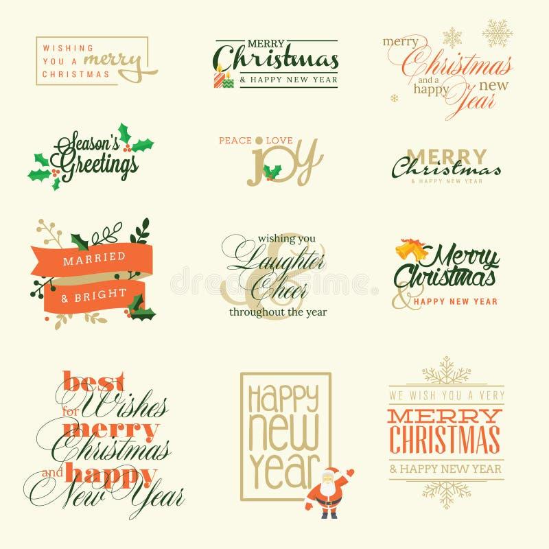 Комплект элементов для поздравительные открытки рождества и Нового Года бесплатная иллюстрация