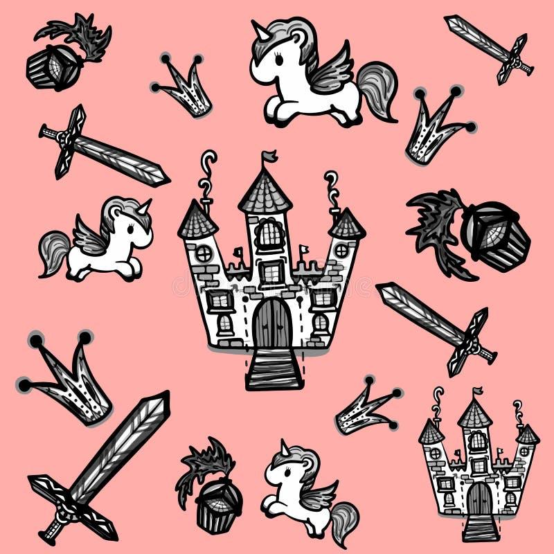 Комплект элементов fairy ` s детей doodles стоковое фото