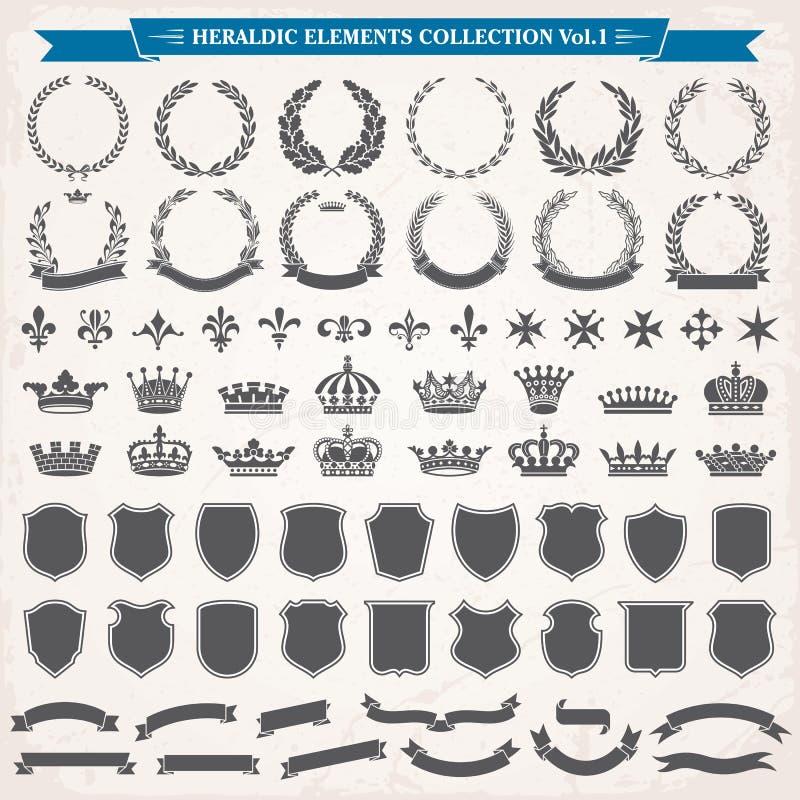 1 комплект элементов heraldic иллюстрация вектора