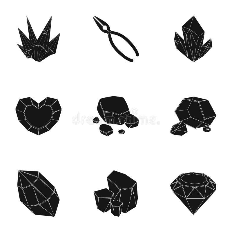 Комплект ювелирных изделий, кристаллов, минералов и дорогих металлов Ювелир проверяет орнаменты Драгоценное amd минералов иллюстрация вектора