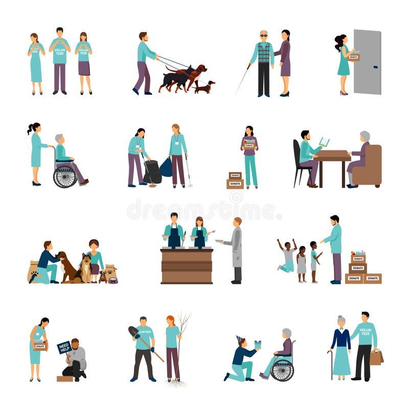 Комплект людей волонтеров иллюстрация штока