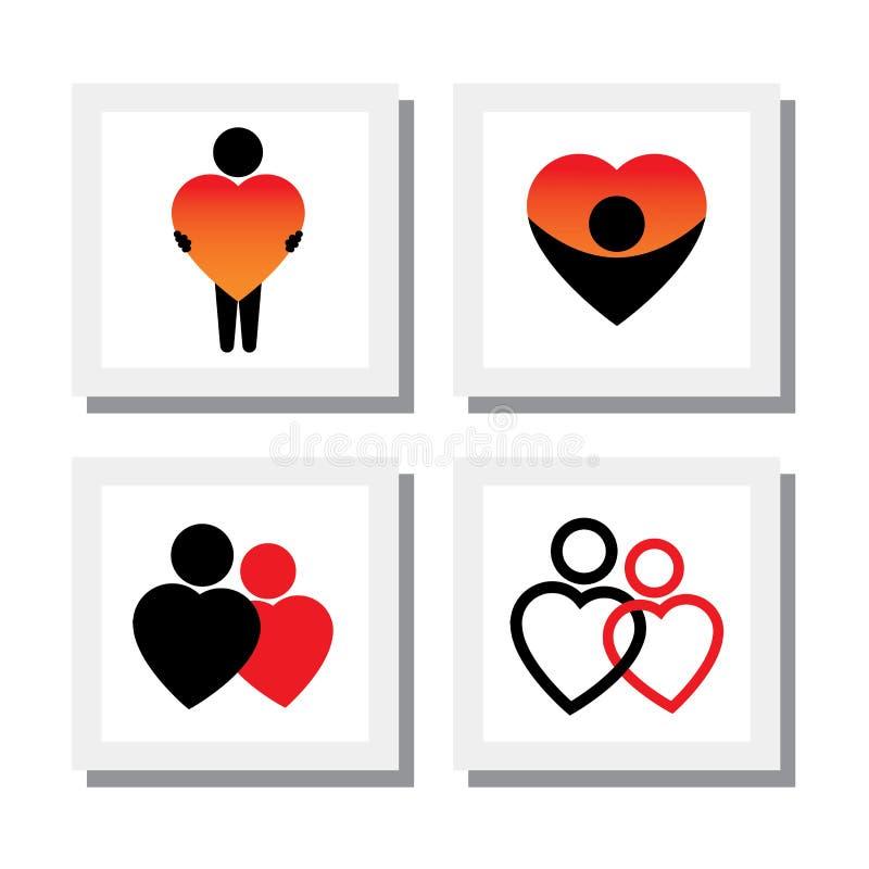 Комплект людей выражая сочувствие, влюбленность, сопереживание, сострадание - v иллюстрация штока