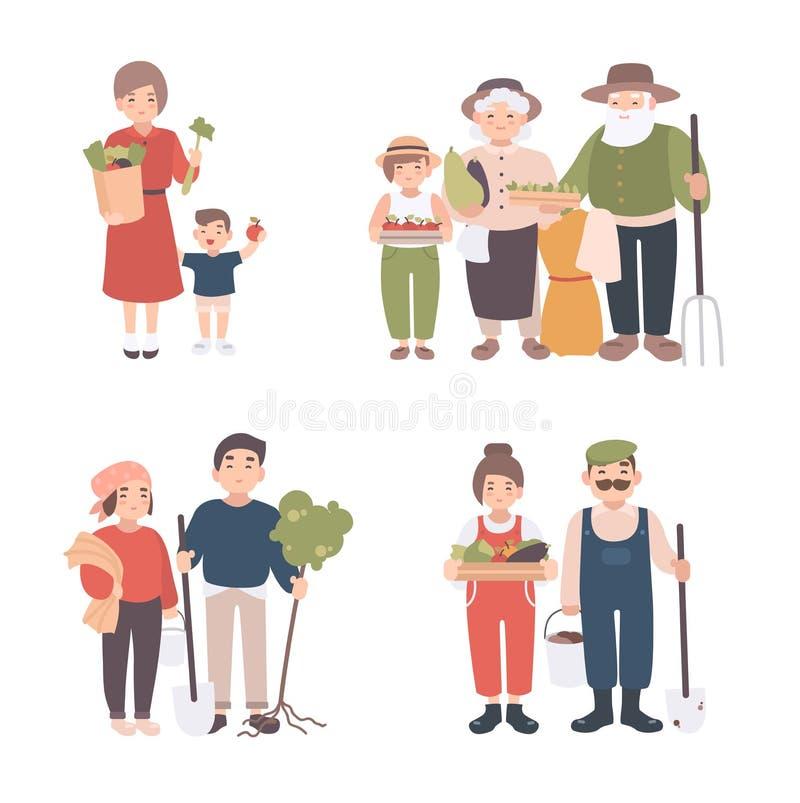 Комплект людей деревни Различные детеныши, взрослый, старые фермеры и дети совместно Счастливые деды, человек и женщина с иллюстрация вектора