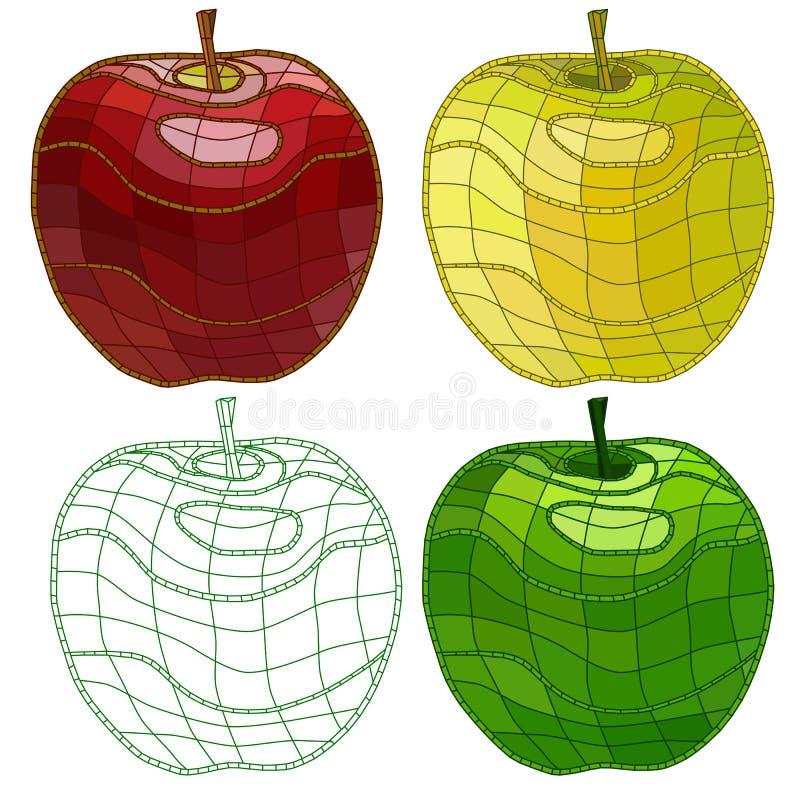 Комплект яблок мозаики изолировано r иллюстрация штока