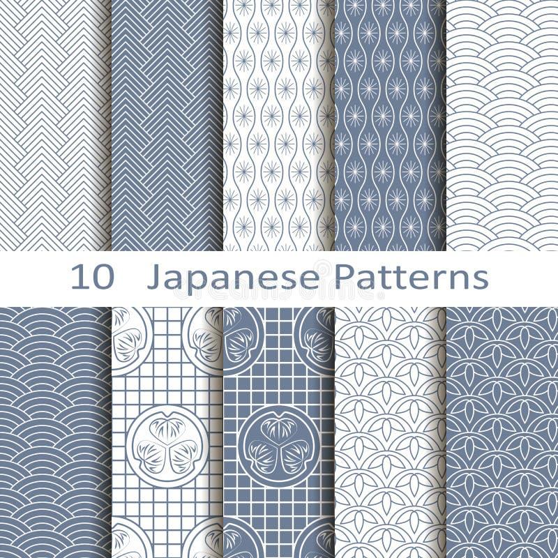 Комплект 10 японских картин иллюстрация вектора
