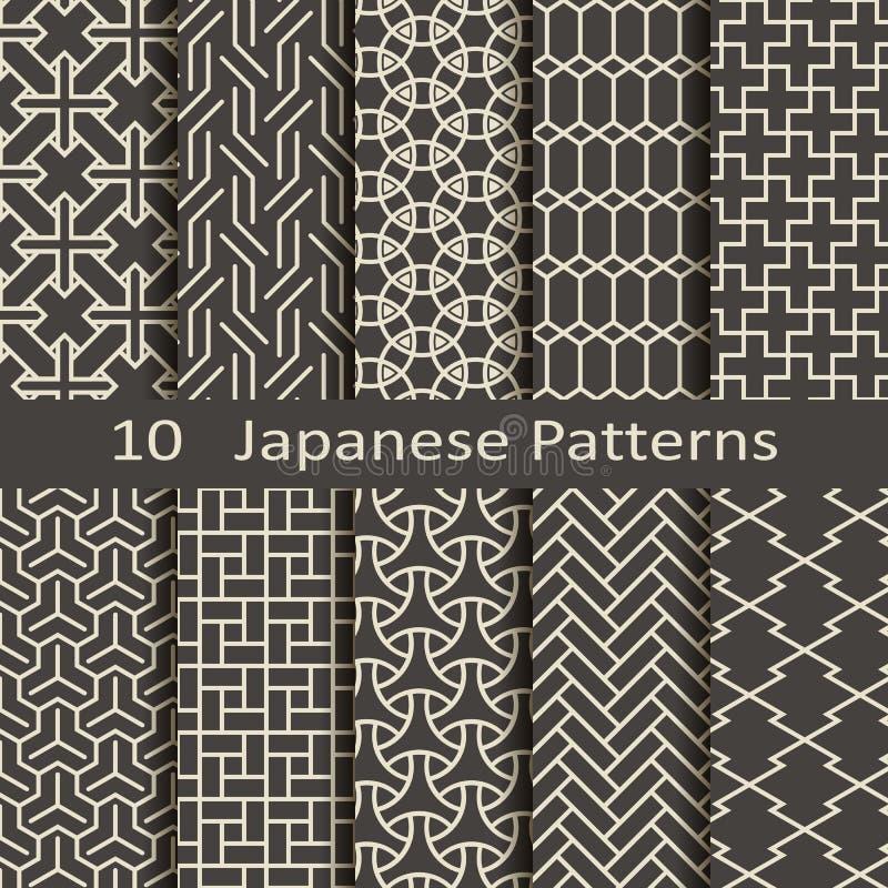Комплект 10 японских картин иллюстрация штока