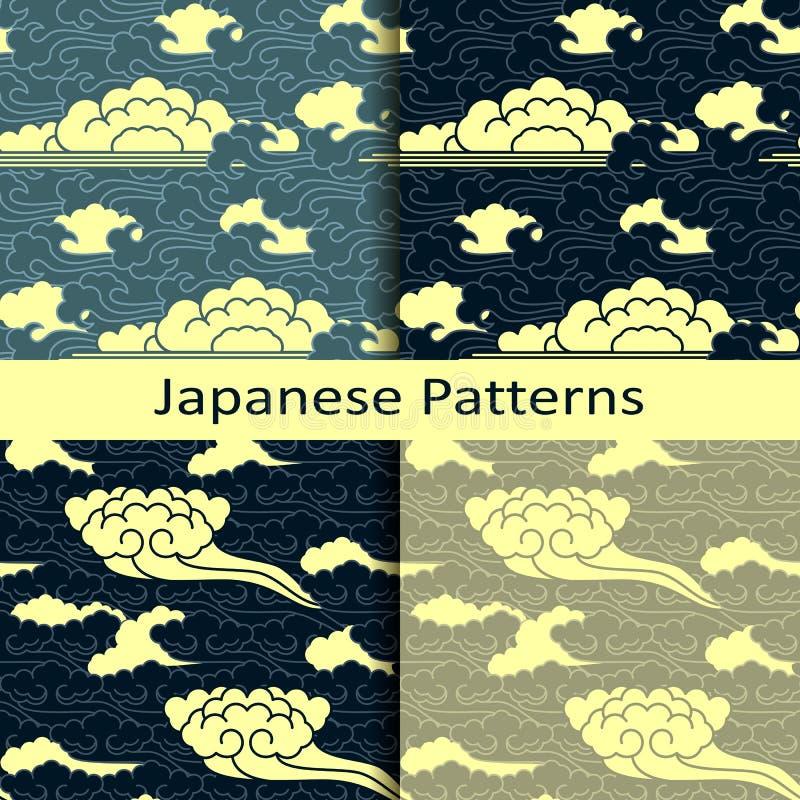 Комплект 4 японских традиционных пасмурных картин иллюстрация вектора