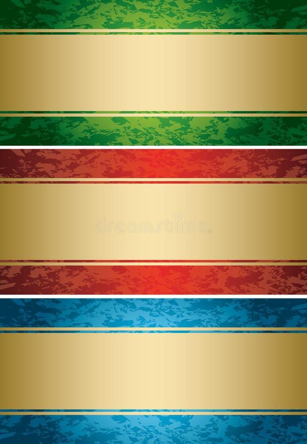 Комплект - яркие карточки с grungy предпосылками иллюстрация вектора