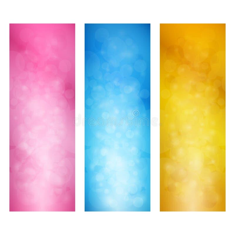Комплект ярких вертикальных знамен иллюстрация вектора