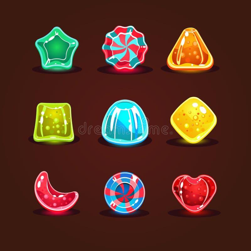 Комплект ярких конфет шаржа иллюстрация вектора