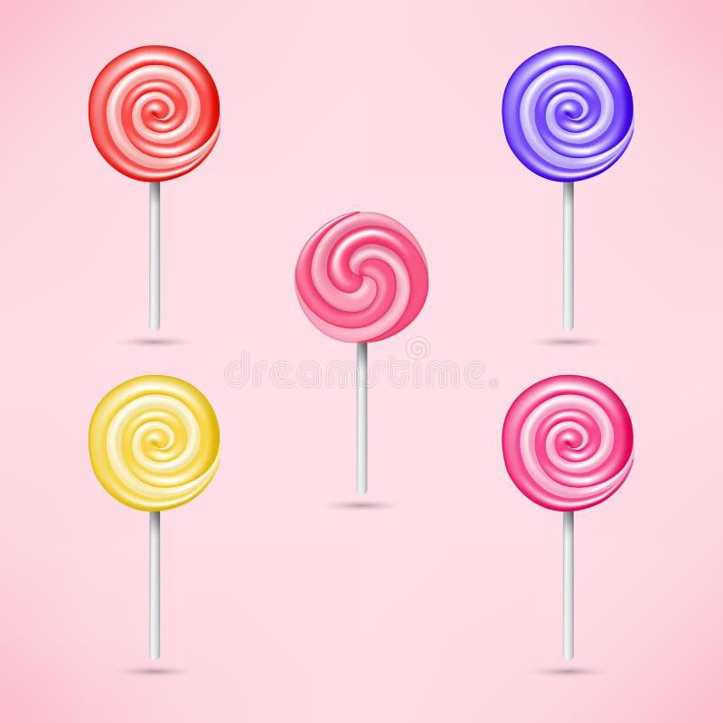 Комплект ярких сладостных леденцов на палочке иллюстрация вектора
