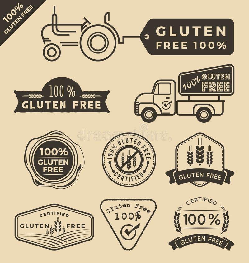 Комплект ярлыка клейковины свободной аттестованного едой иллюстрация штока