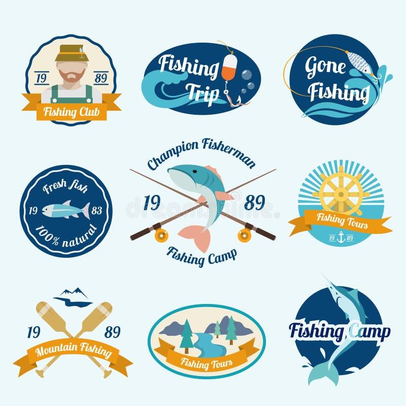 Комплект ярлыка рыбной ловли бесплатная иллюстрация