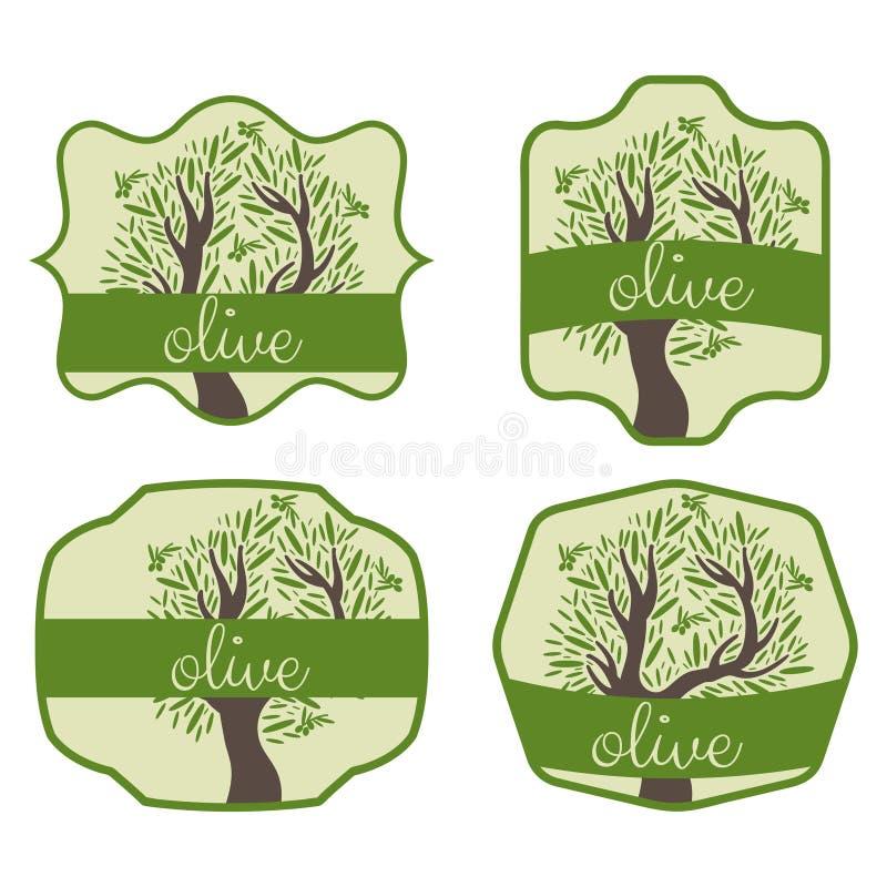 комплект ярлыка с оливковым деревом вектор бесплатная иллюстрация