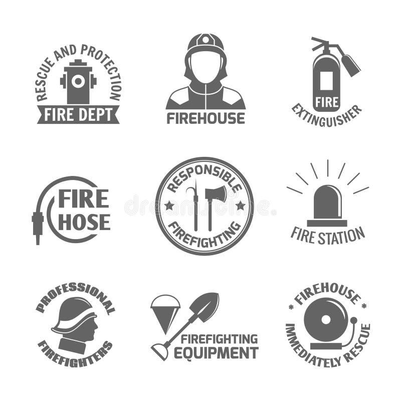 Комплект ярлыка Firefighting иллюстрация вектора