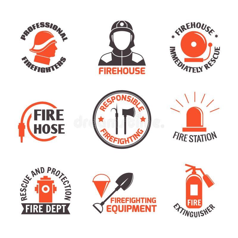 Комплект ярлыка Firefighting бесплатная иллюстрация