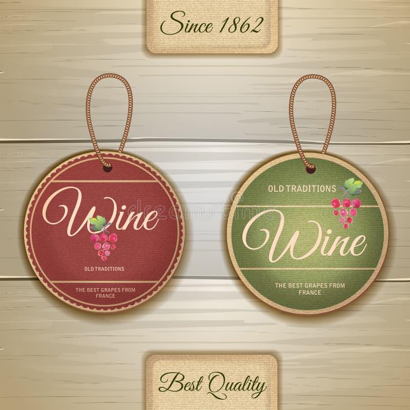 Комплект ярлыков вина винтажных иллюстрация штока