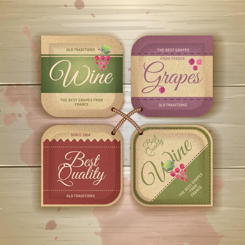 Комплект ярлыков вина винтажных бесплатная иллюстрация