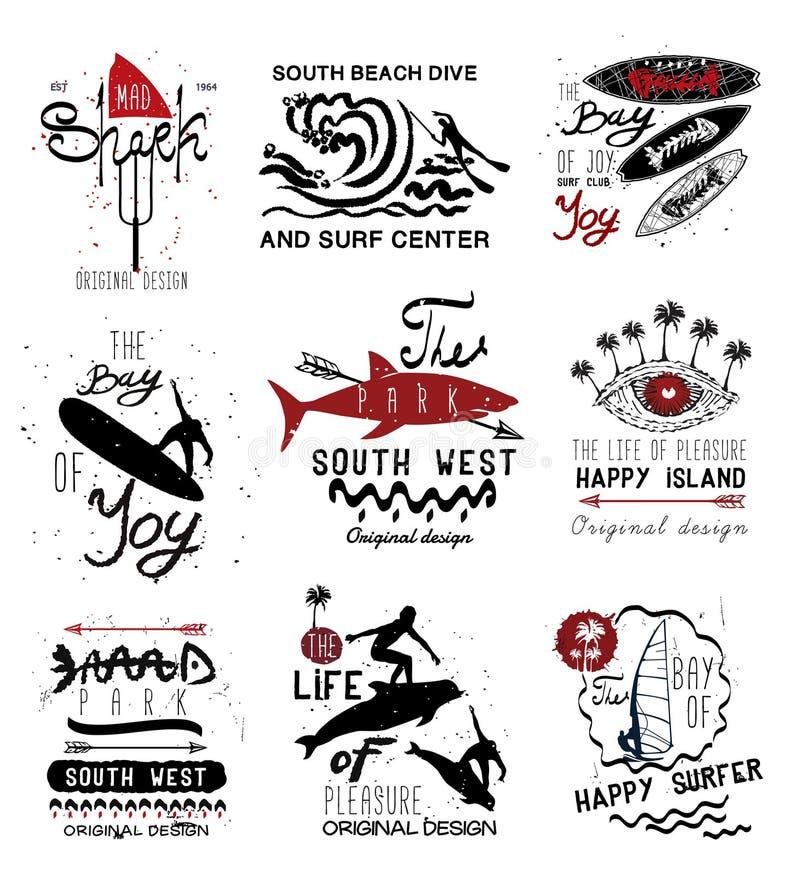 Комплект ярлыков года сбора винограда занимаясь серфингом, логотипа и элементов дизайна иллюстрация вектора
