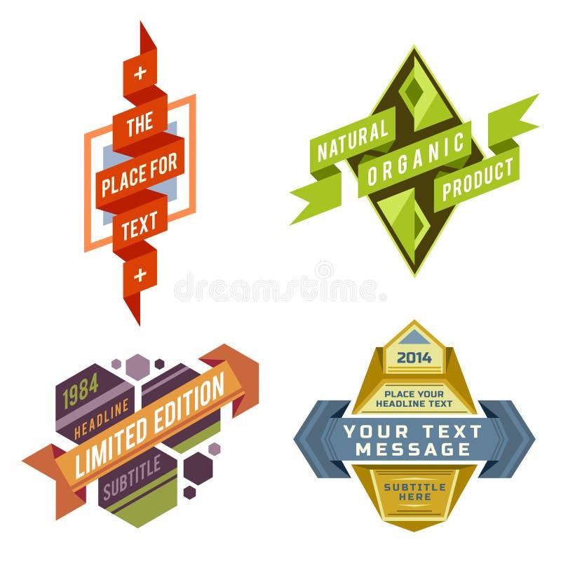 Комплект ярлыков ленты логотипа вектора ретро и футуристических знамен стиля иллюстрация вектора