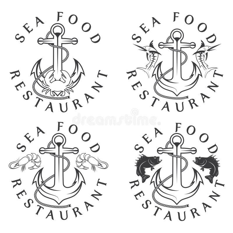 комплект ярлыков еды винтажный иллюстрация вектора